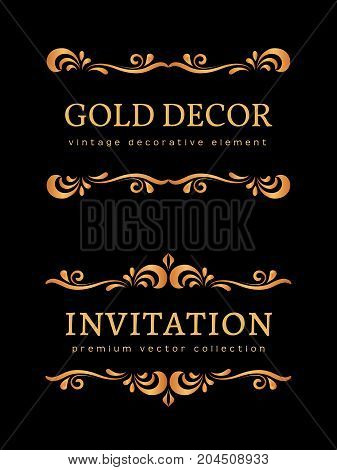 Vintage gold vignettes, flourishes, decorative design elements in retro style, scroll embellishment on black