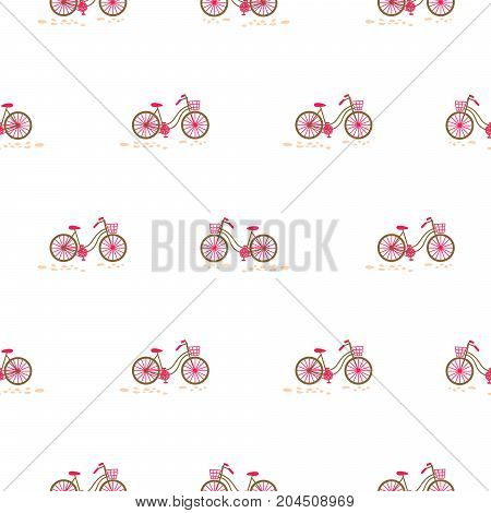 Bicycle with basket on the front wheel pink on white seamless pattern vector.