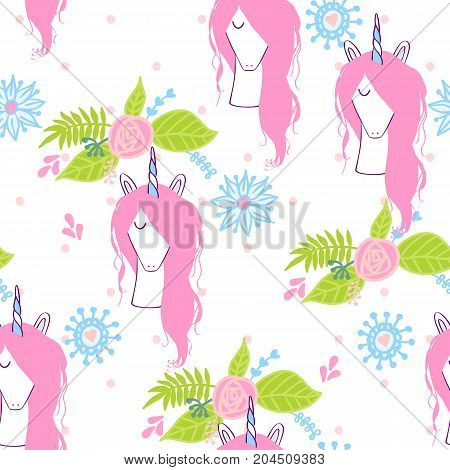 Magic cute unicorn with flowers. Vector seamless pattern