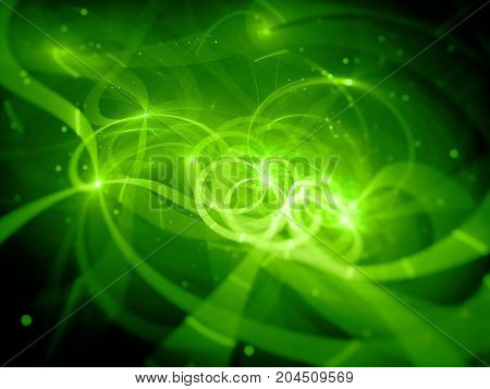 Green glowing fiber optic with particles in space computer generated abstract background 3D rendering