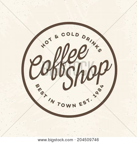 Coffee shop logo with sign hot and cold drinks isolated on background for cafe, shop. Vector design elements, logos, identity, labels, badges and other branding objects. Vector illustration.