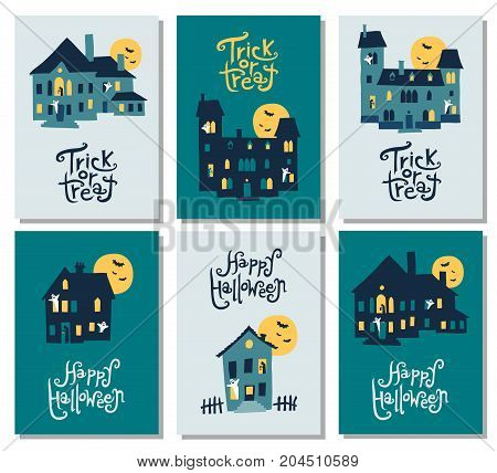 Set of 6 Halloween cards: party invitation greeting cards flyer poster templates. Hand drawn haunted houses. Vector illustration