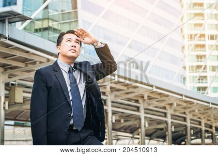 Business Man Looking Away In The Modern City