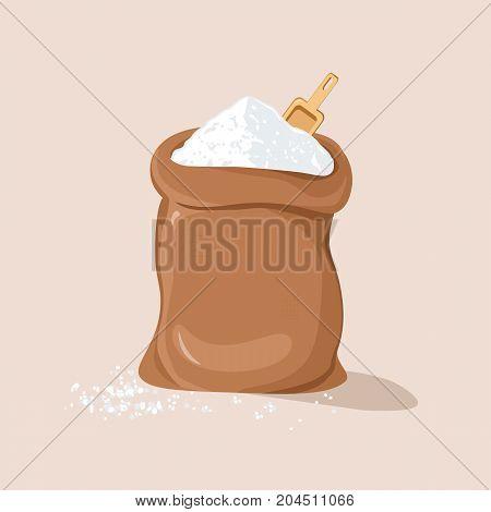 Sugar or Salt with Scoop in Sack. Vector illustration flat design