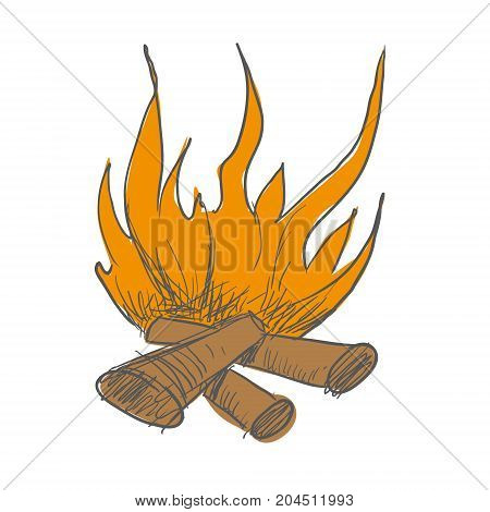 The bonfire burns. Languages of flame. Cut from the background. Vector Image for your designe