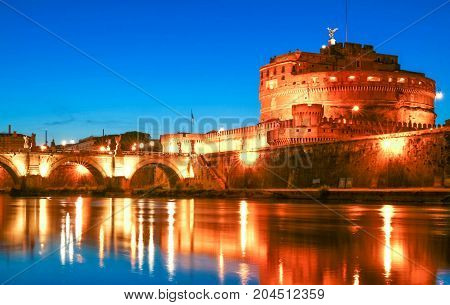 St.Angelo Bridge and Castle Sant'Angelo by night, Rome, Italy