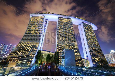 Night View At Marina Bay Sands Resort, Singapore