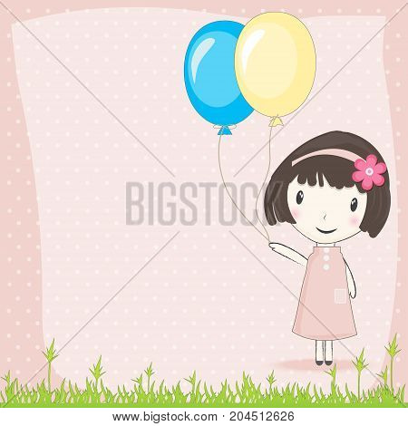 Girl with balloons in meadow and polka dot on pink background