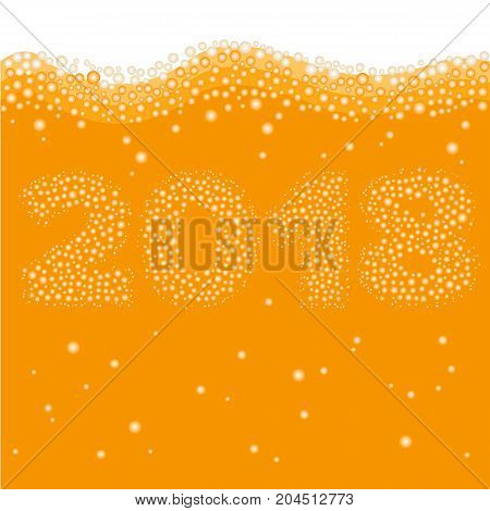 happy new year 2018 concept number created of bubbles inside orange liquid juice