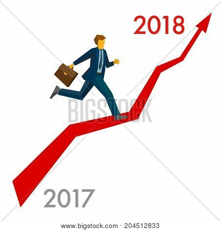 Businessman running grow up graph from 2017 to 2018 point. Career success - New year concept for greeting card, poster or annual report. Flat vector clip art, isolated on white background.