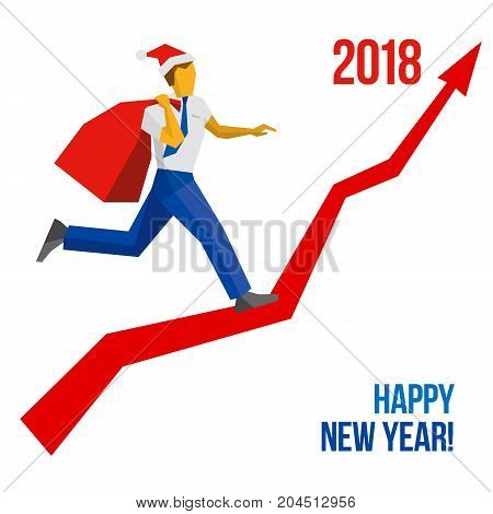 Businessman in Santa hat with gift bag running grow up graph to 2018 point. New year concept for card, poster or annual report. With place for text. Flat vector clip art, isolated on white background.
