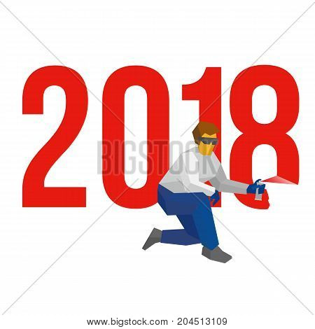 Man with sprayer writes number 2018. Painter draw a holiday graffiti. New year concept for card or poster. Flat style vector clip art on white background. Celebration logo