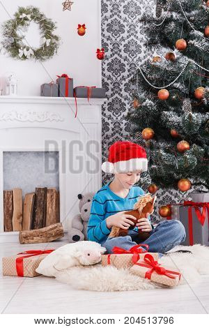 Cute happy boy in santa hat holding toy. Christmas present on holiday morning in beautiful room. Male child got Xmas gift near decorated fir tree and fireplace. Winter holidays concept