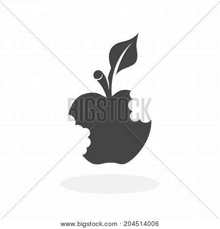 Bitten apple icon isolated on white background. Bitten apple vector logo. Flat design style. Modern vector pictogram for web graphics - stock vector