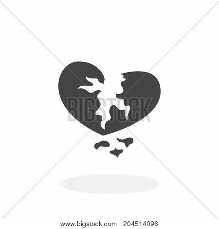 Broken heart icon isolated on white background. Broken heart vector logo. Flat design style. Modern vector pictogram for web graphics - stock vector