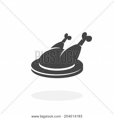 Chicken on a plate icon isolated on white background. Chicken vector logo. Flat design style. Modern vector pictogram for web graphics - stock vector
