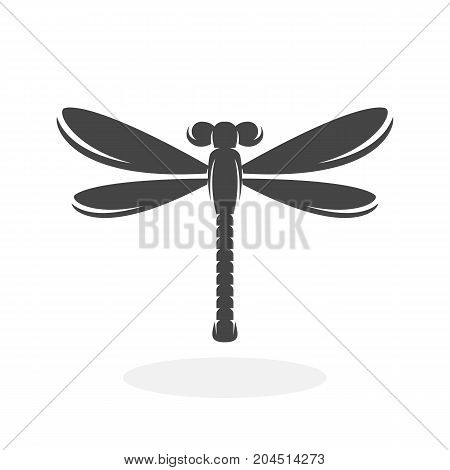 Dragonfly icon isolated on white background. Dragonfly vector logo. Flat design style. Modern vector pictogram for web graphics - stock vector