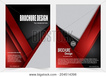 Red and Black Brochure template flyer design abstract template for annual report magazine poster