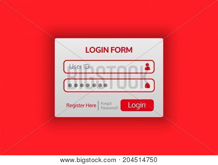Web site login form is flat in style. Vector illustration for your projects.