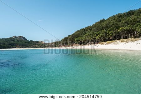 ISLAS CIES SPAIN - CIRCA SEPTEMBER 2017: Sand beach of Playa de Rodas on the Cies Islands of Spain included in the Atlantic Islands of Galicia National Park.