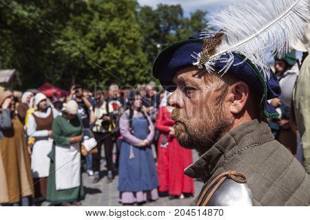 TURKU, FINLAND ON JUNE 30. Closeup view of actor´s face in the Medieval Market of Turku. Actors in the background on June 30, 2017 in Turku, Finland. Editorial use!