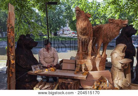 TURKU, FINLAND ON JUNE 30. View of outdoor stand during the Medieval Market days on June 30, 2017 in Turku, Finland. Business in local or small stands. Unidentified people. Editorial use.