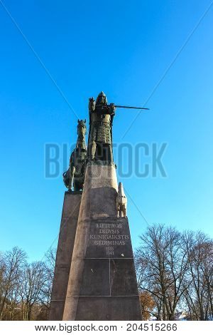 VIlnius, Lithuania - January 06, 2017: Bronze monument to Grand Duke Gediminas on the Cathedral Square in the old town of Vilnius at Lithuania.