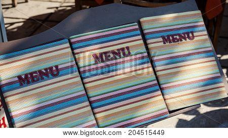 Menu Of A Restaurant