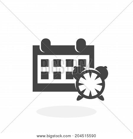 Calendar and clock icon illustration isolated sign symbol. Calendar and clock vector logo. Flat design style. Modern vector pictogram for mobile and web design - stock vector