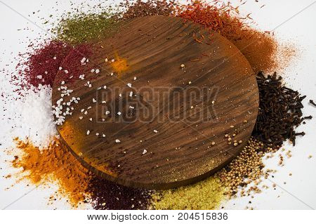 Spices Frame On White Background With Copy Space
