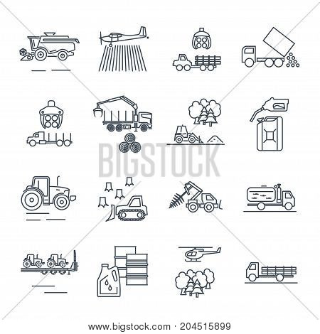 set of thin line icons agricultural machinery equipment farming tractor combine