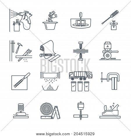 set of thin line icons house repair work tool equipment