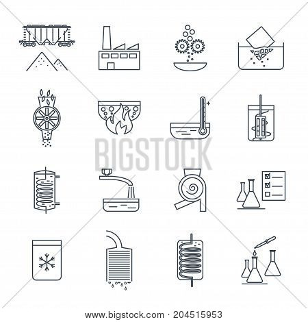 set of thin line icons industrial production manufacturing process technology equipment