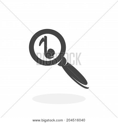 Music search icon illustration isolated sign symbol. Music search vector logo. Flat design style. Modern vector pictogram for mobile and web design - stock vector