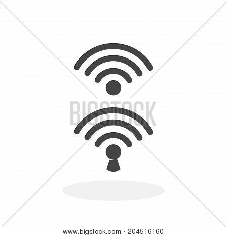 Wifi lock and unlock icon illustration isolated sign symbol. Wifi lock and unlock vector logo. Flat design style. Modern vector pictogram for mobile and web design - stock vector