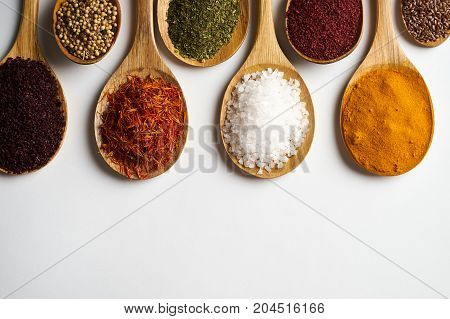 Indian Spices Isolated On White Background With Copy Space