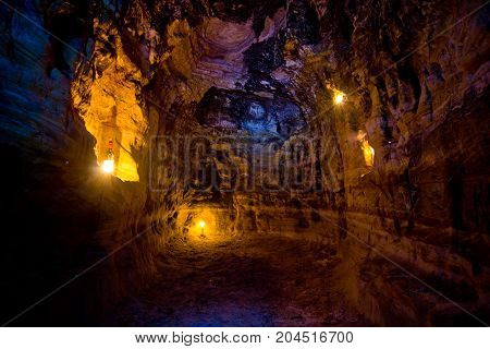 Artificial sandstone cave. Cave monastery. Abandoned abode of sectarians whips and scopes. Tula region, Russia