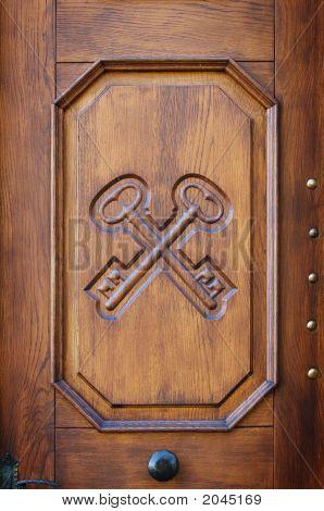 Close Up Detail On Wooden Door