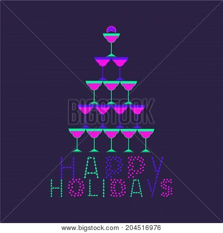 Happy Holidays cute fancy letters hand drawn text. Invitation card colorful neon headline. Cocktail glasses Christmas tree. Holiday playful poster. Vector