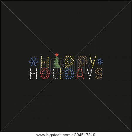 Happy Holidays cute fancy letters hand drawn ornate text. Invitation card colorful headline design element.