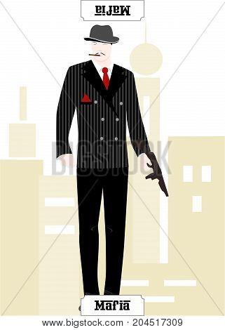 the illustration - card for mafia - the Mafia.
