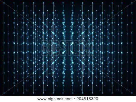 Blue glowing connections in space with particles.Concept of network internet communication Big dataFuture technology.
