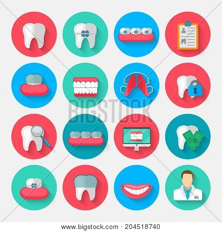Dentistry icons isolated in a flat design style. Vector Illustration Symbols elements on the topic of stomatology and orthodontics, dental care, caries, prosthetics, transparent and metal braces.