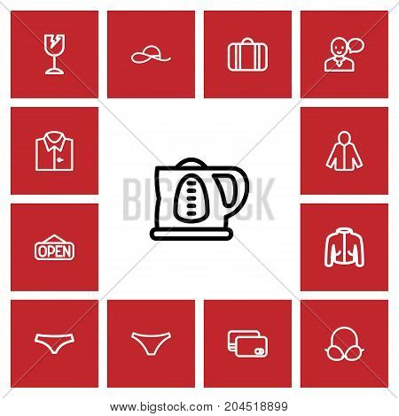 Set Of 13 Editable Business Outline Icons. Includes Symbols Such As Broken Glass, Speaking Man, Debit Card And More
