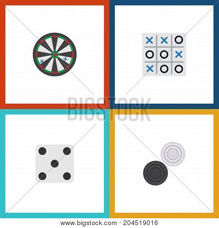 Flat Icon Games Set Of Arrow, X-O, Backgammon And Other Vector Objects