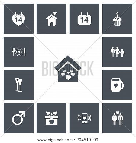 Set Of 13 Editable Amour Icons. Includes Symbols Such As Present, Dishes, Muffin And More