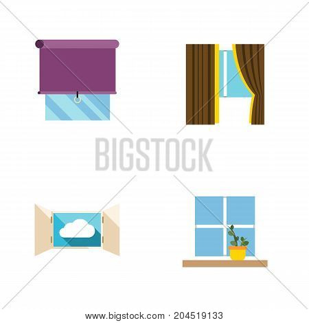 Flat Icon Frame Set Of Flowerpot, Glazing, Cloud And Other Vector Objects