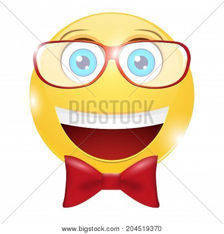 Smiley with glasses on a white background
