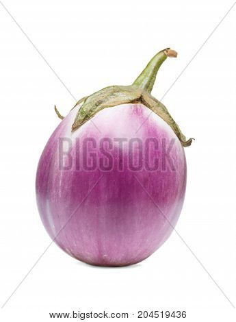 Raw purple round eggplants isolated on white background.