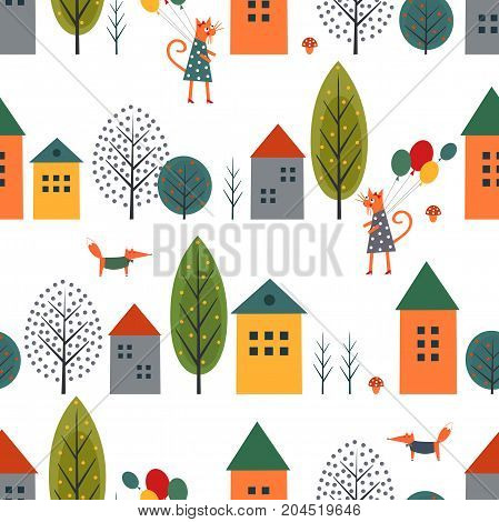 Cute houses, cat, fox and autumn trees seamless pattern on white background. Scandinavian style nature illustration. Autumn landscape with animal design for textile, wallpaper, fabric.
